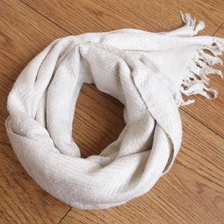 【Grooving the beats】Wild Silk Hand Woven Stole / Shawl / Scarf / Wrap (White)