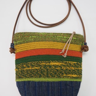 Handwoven Day Bag in Orange & Green