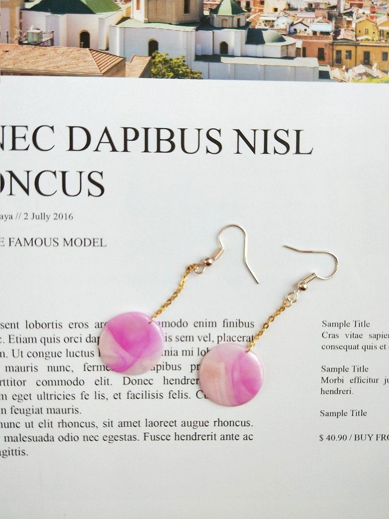 Small ornament - pink smudged cocoon - earrings earrings