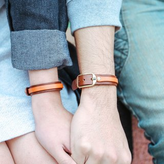 Shekinah handmade leather - two-tone bracelet 2