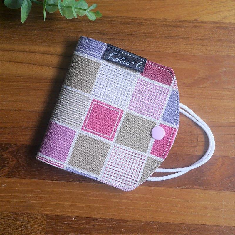 訂製款=口罩暫存套/口罩收納套=日本棉麻布=格子趣=粉紅(共3色)