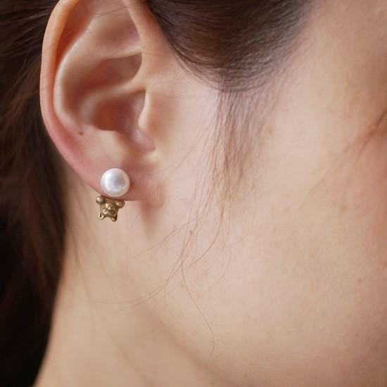 Pearl and cat earrings antique one ear