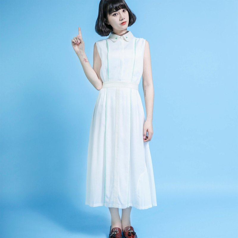 SU: MI said Retro green hill retro white cotton dress _6SF041_