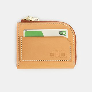 L-shaped zipper purse Italy imported vegetable tanned leather primary color handmade - GLW01