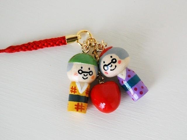 * Mini Kokeshi * grandfather grandmother ♥ strap *