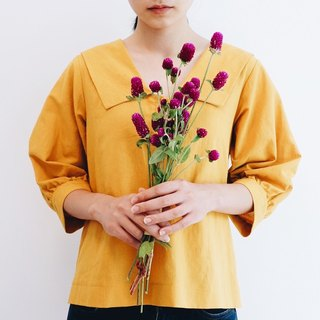 Top number No.1 - Spring blooming mustard yellow top with wide collar
