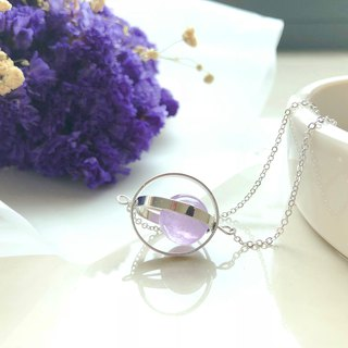 Romantic planet. universe. Silver ring. Lavender amethyst. necklace