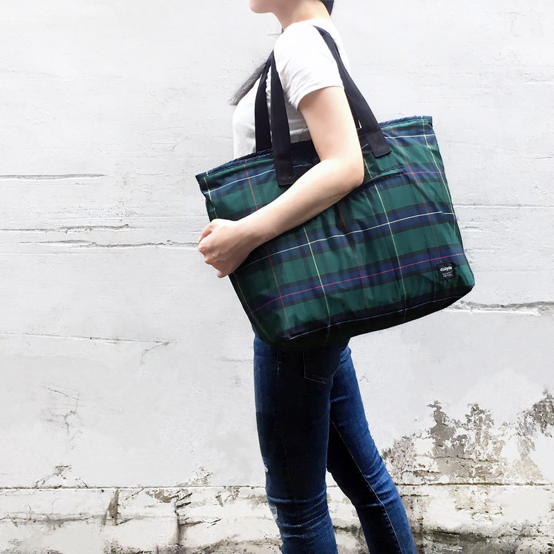 Umbrella cloth storage light bag / travel bag / tote bag - blue green plaid