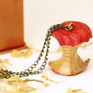 Wooden eating apple necklace [Butterfly gift box style]--Woodcut--handmade - hand made (can pick color)