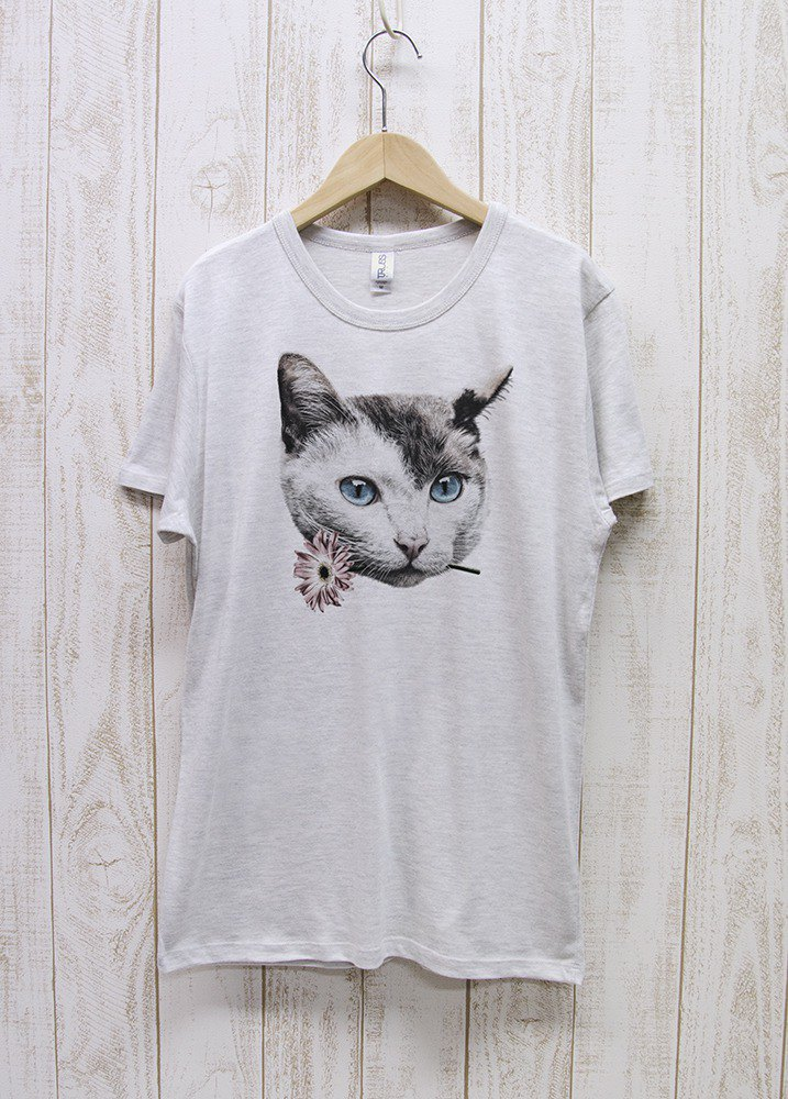 ronronCAT Tee Here you go ヘザーホワイト / R028-TT-HWH