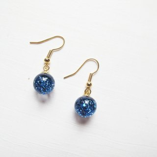 Rosy Garden Ice blue glitter with water inside glass ball earrings