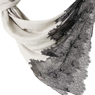 [ANGEL WOOLEN] Indian handmade French lace shawl scarf (classic fashion)