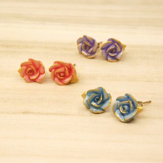 =Dash of Gold= Rose with Hand-painted Golden Edge Earrings/Clip on Customizable