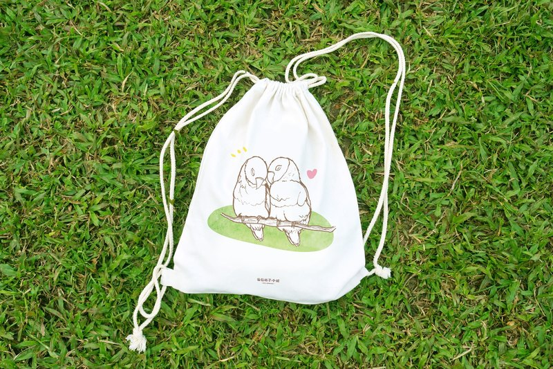 【Animal Series】Parrots with Cherry Blossom draw-string bag