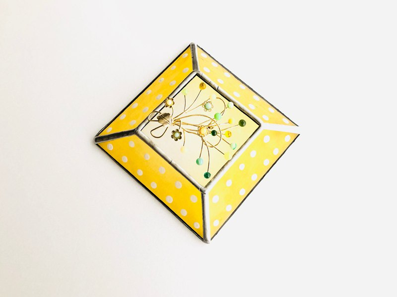 Stained glass tray rétro pop yellow