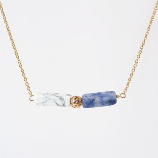 Piezoelectric pillar · White turquoise blue stone · 14K package gold beads · Gold-plated necklace (45cm / 18 inch) gift