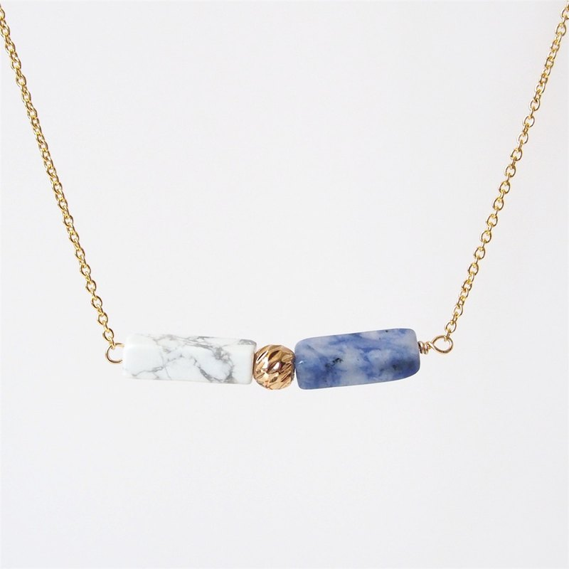 Minimal square column, white turquoise blue stone, 14K gold beads • Gold-plated necklace (45cm / 18吋)