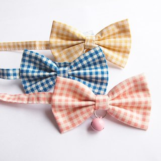 Plaid cat mini dog small dog bow decorative collar