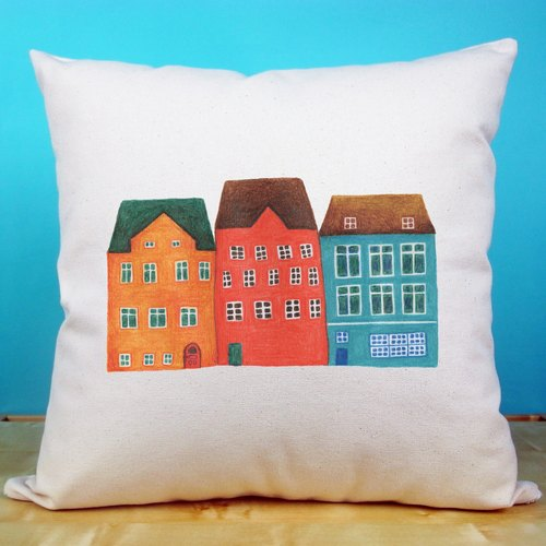 Small house cotton canvas pillow