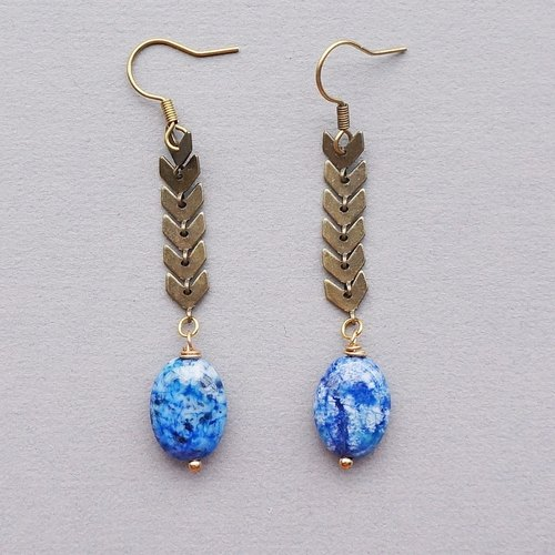 Engraved engraved blue stone earrings (natural stone / limited handmade / birthday present)