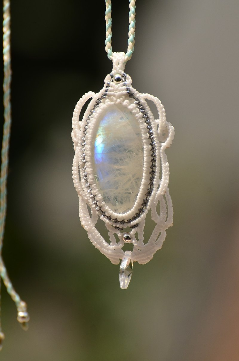 Moonstone Jewelry Macrame Necklace