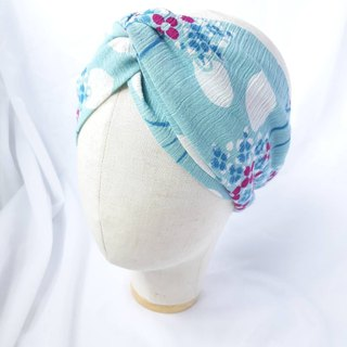 Lake blue hydrangea pattern headband scarf wide hair band