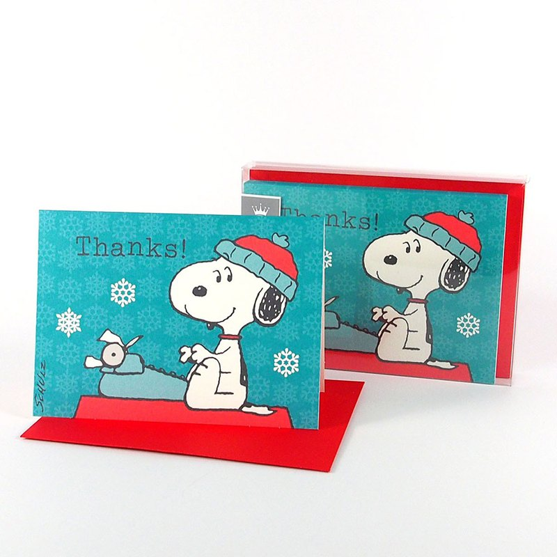 Snoopy typing Christmas box card 10 into [Hallmark-card Christmas series]