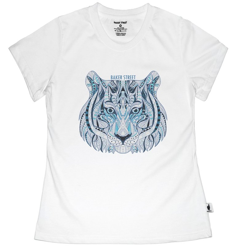British Fashion Brand -Baker Street- Zentangle Tiger Printed T-shirt