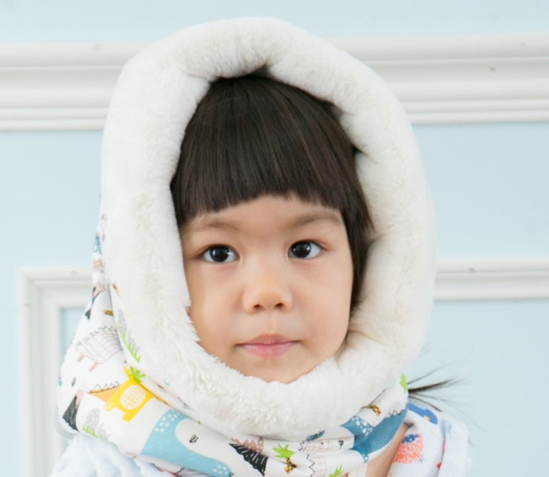 Printed cotton fur multi-purpose hooded neck scarf double-sided can be used children's version Dino
