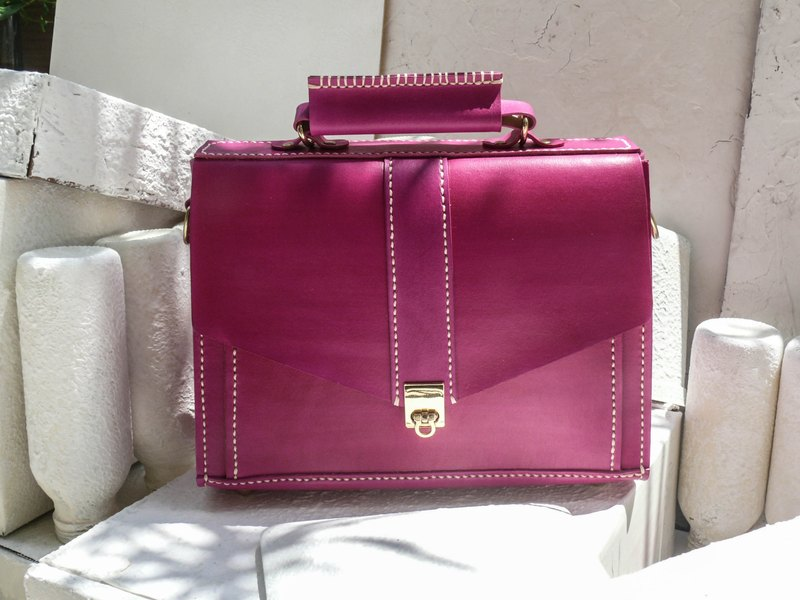 Not hit the bag pink vegetable tanned leather full leather small briefcase