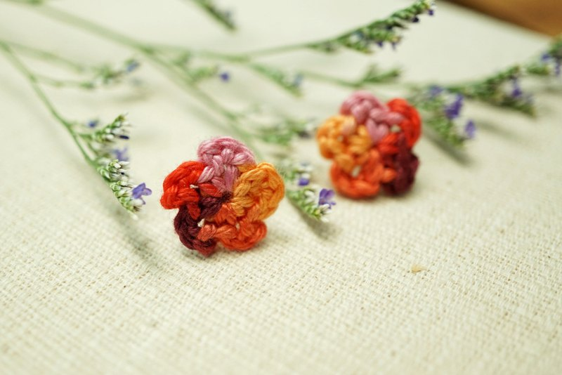 Fluffy Floral Earrings - Rainbow Fire