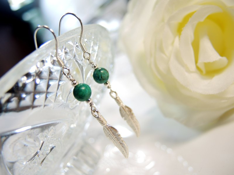 """Glory Glory"" Ethnic Fashion 925 sterling silver turquoise feather ear hook earrings"