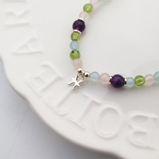 Bigman Taipa [Constellation Lucky Stone Series] Pisces × Natural Stone Beads × Handmade Silver Bracelet