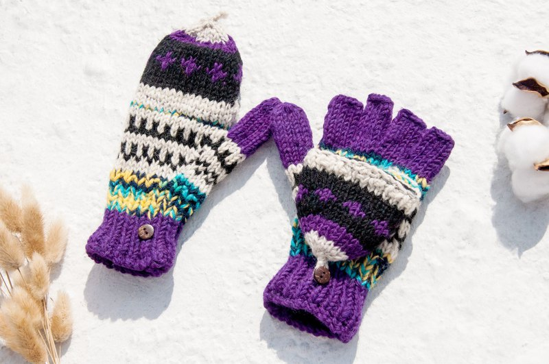 Hand-knitted pure wool knit gloves / detachable gloves / inner bristled gloves / warm gloves - purple stars