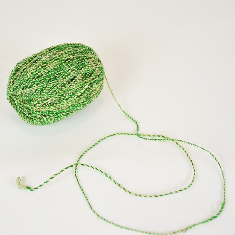 2 ply Hemp twine-green and natural color-fair trade