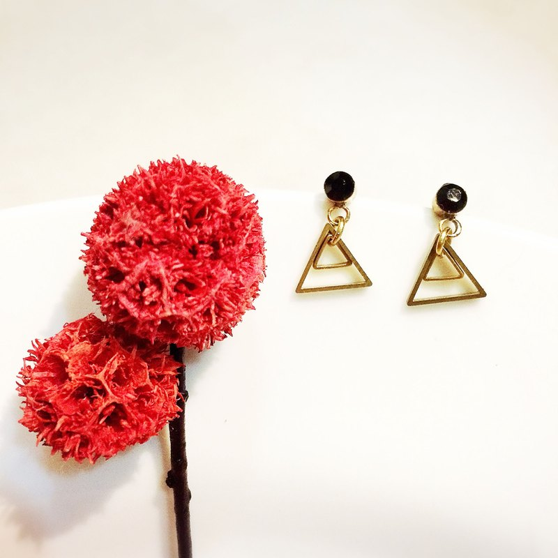 Laolin groceries l hand made earrings geometric small team - black diamond ear pin ear hook l ear pin l ear clip