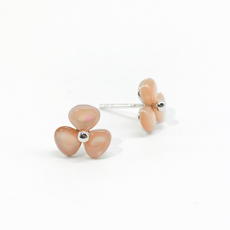 Natural Pink Orange Mother Of Pearl Clover 925 Sterling Silver Earrings