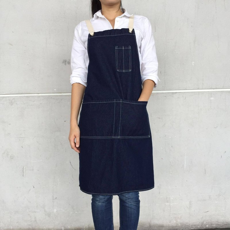 New Washed Denim Apron no.06 Silver rivets 2 pockets /garden/barista/ Handmade