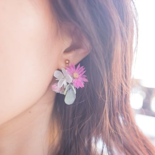 Calista Beautiful Women --- Asymmetric Dry Flowers Without Flower Earrings / Ear Clips