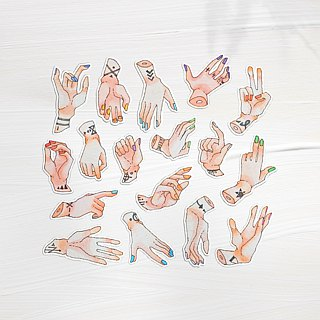 Tattoos hand 2 hand painted watercolor stickers 12 into