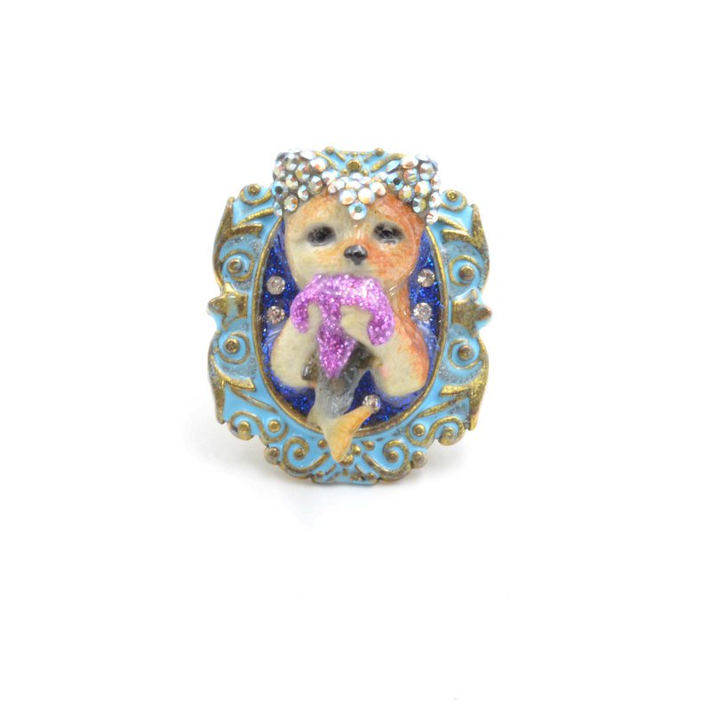 Cat eating fish charm Swarovski crystal decoration brass ring hand-painted bronze enamel craft lace