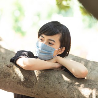 Smooth breathing handmade mask | Plain Marineblue | Sensitive skin | TEMARIYA