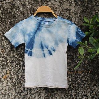 Free dye isvara hand-dyed cotton T-shirt pure series of sky / children's clothing