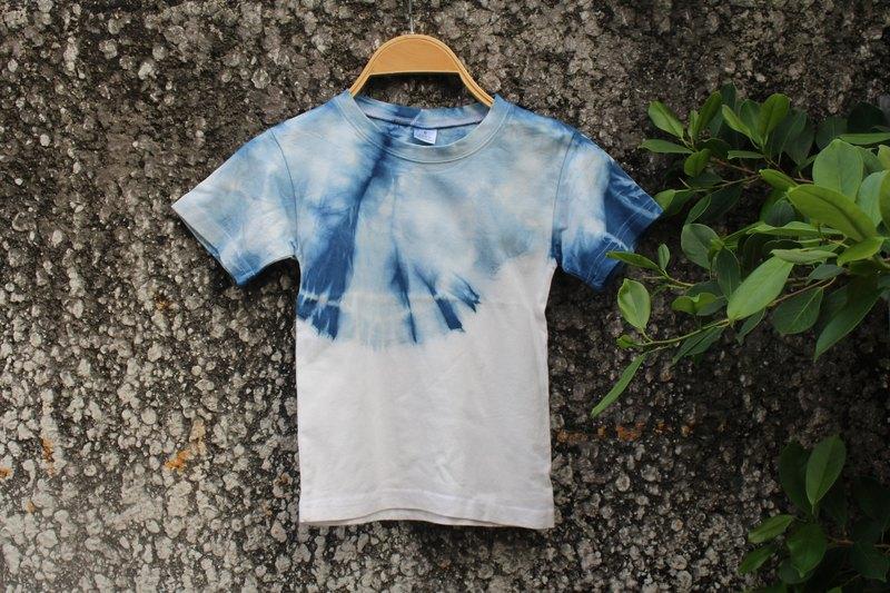 自在染isvara 手工藍染 純棉T-shirt 純粹系列 天空    /童裝