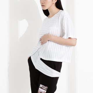 CLLECTION1 ~ SPACE TRASH asymmetric stripe shirt