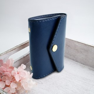 RENEW - Vegetable tanned leather hand stitch 20 card card holder / card holder / business card holder navy blue