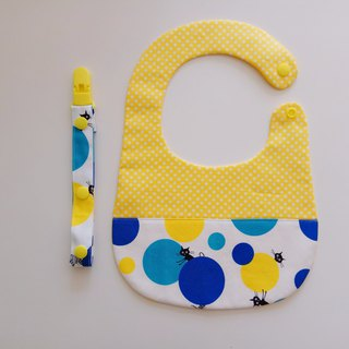 <Blue> cats playing ball gift of the moon baby bib + universal folder
