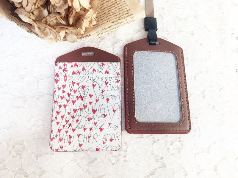 "Handmade Gifts' Hand true pickup sets of ""small leather love card ticket folder / document sets / badge / Valentine's Day birthday gift exchange (lanyard)"