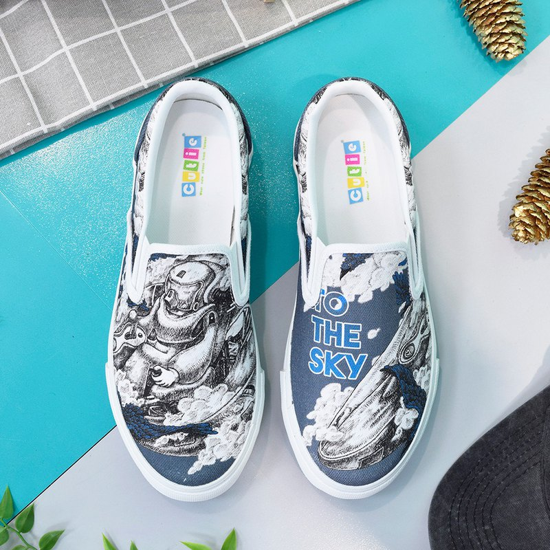 Dongjun illustration canvas shoes to the sky neutral cotton breathable pilot gift made in Taiwan