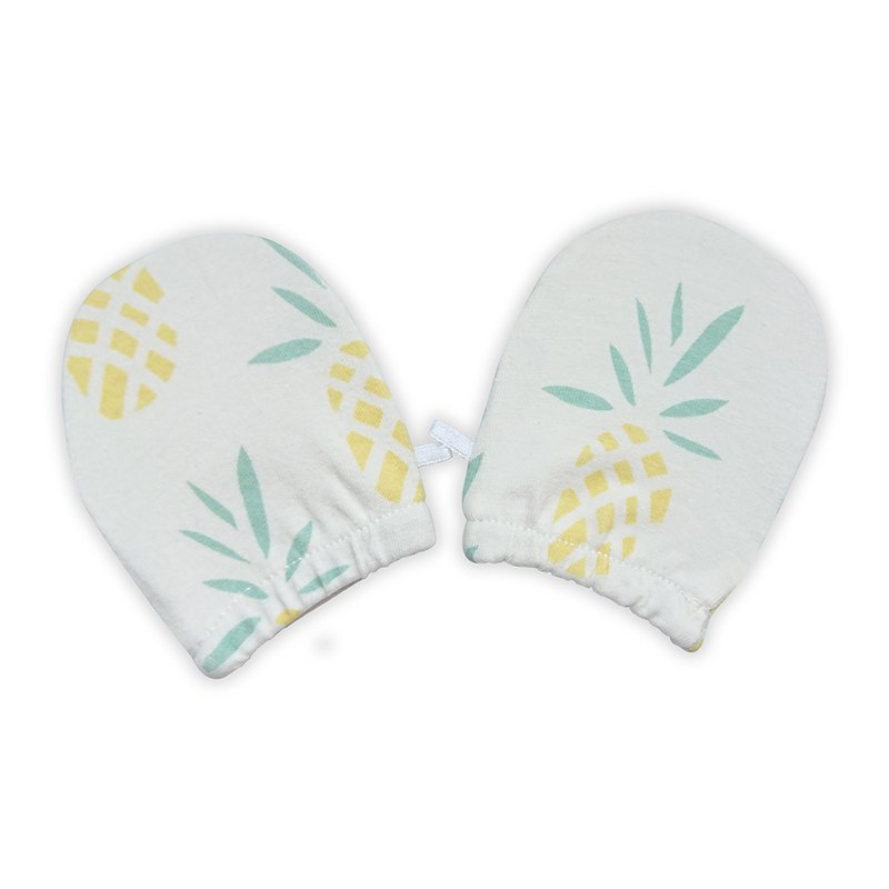 [Deux Filles Organic Cotton] Newborn Gloves with Pineapple Pattern